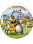 7.5 Personalised Madagascar Icing or Wafer Cake Top Topper